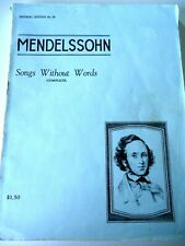 Mendelssohn.Songs Without Words.Complete!.Imperial Ed. Very Good Cond. Music