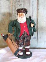 Clothtique Possible Dreams Santa Claus w Golf Bag & Golf Clubs Christmas Figure