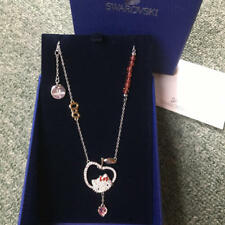 Hello kitty x Swarovski Necklace Apple Ribbon Kitty Face Authentic From Japan