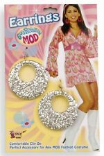 Silver Glitter MOD Clip-on EARRINGS HOOP PLASTIC 60s retro COSTUME ACCESSORY