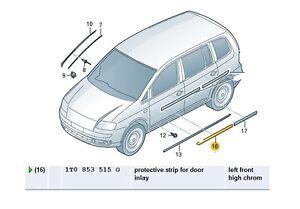 New Genuine VW Caddy Touran Near Side Rear Door Moulding 1T0853753G GRU