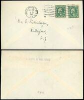 1913 WALL ST STA. NEW YORK Cds, (2) Imperf US SCOTT #408 Washington Head Franks!