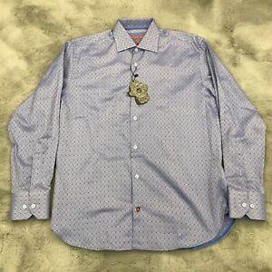 New Luchiano Visconti Black Button Down Shirt Diamond Print Mens Small Blue