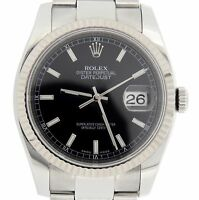 Rolex Datejust Mens Stainless Steel Watch 18K White Gold Bezel Black Dial 116234