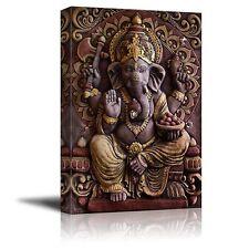 "Canvas Prints - Sculpture of Gannesa Hindu God on the Orange Wall - 24"" x 36"""