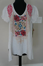 NEW Johnny Was JWLA Linen Embroidered V Neck Tee Tunic Top Blouse White S