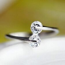 Opening Memorial Day 4mm Round Double Cubic Zircon Rhinestone Ring Jewelry