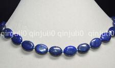 "Natural Egyptian Lapis Lazuli Gemstone 13x18mm Oval Beads Necklace 18"" JN544"