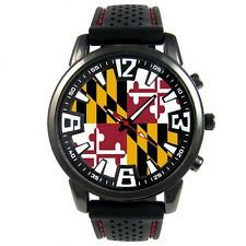 Maryland US State Flag Mens Style Black Silicone Band Quartz Wrist Watch S651F