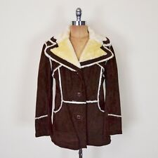Vtg 70s Hippie Suede Leather Faux Shearling Sherpa Western Ranch Coat Jacket M L