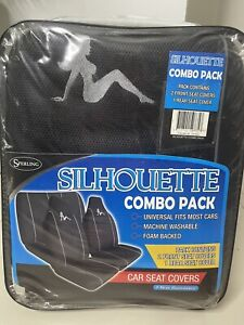 Front And Back Black Mesh Seat Covers Silhouette Fits Most Cars