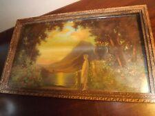 "Antique Framed Art Neuveau Print Lady atSunset by Charles Kendall Manning 15""x9"""