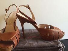 "Bruno Frisoni PARIS 4.5"" Stiletto Platform Sandals size 39 So Elegant! Lt Brown"