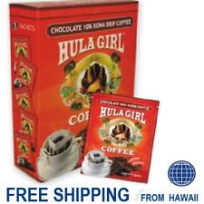 Hula Girl DRIP COFFEE CHOCOLATE Flavor 10% Kona Blend Single Serve Box 5 Sachets