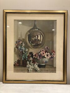 Vintage 1932 Print Reflections By Herbert Davis Richter Wood Frame Glass Lg