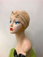 Vintage 1920's Beige Coated Burlap Flapper Cloche Hat w/ Grosgrain Ribbon Detail