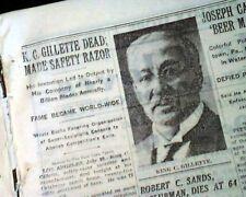 KING CAMP GILLETTE Safety Razor Disposable Blade Invention DEATH 1932 Newspaper