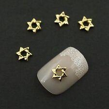 100 Twisted Six Awn Star Design Hollow 3D Gold Tone Metallic Nail Art Manicure