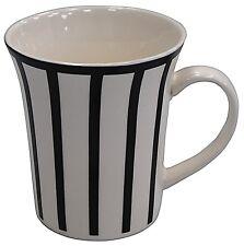 Set of 6 Large Mugs Coffee & Tea Mugs 300ml White & Black Zebra Flared Mugs
