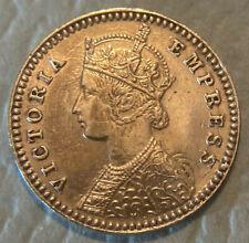 British India 1882 Silver 2 Annas Victoria Empress PROOF-LIKE RESTRIKE? AU