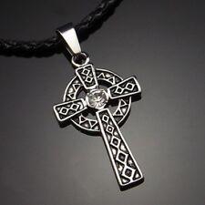 "Celtic Sun CZ Cross Pewter Pendant with 20"" Choker Necklace PP#248"