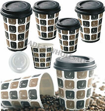 More details for mocha hot drinks paper cups, 50, 100 or 500 coffee catering disposable sip lids