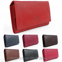 NEW Ladies Soft Large Leather Purse/Wallet by London Leathergoods 6 Colours Flap
