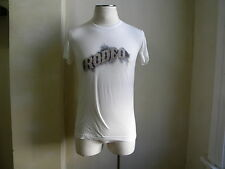 DOLCE & GABBANA D&G COOL COTTON SILK GOLD STUDED RODEO PPRINT WHITE T SHIRT S 46