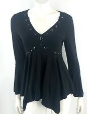Lady Mei Top Size XL Black V Neck Beaded Bell Sleeve Blouse Womens
