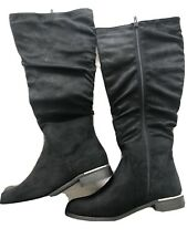 Ladies Rouch Knee Black Boots Size 6