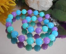 Auffallende Halskette runde Perlen 12 mm Aqua Hellblau Flieder Silber - Collier