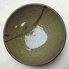 Ancien bol coupe en grès -signature non identifiée - dos marron noir - céramique