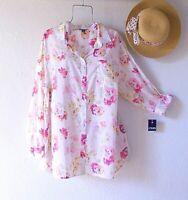 New~$66~Pink Peach White Floral Blouse Shirt Button Cotton Plus Size Boho Top~2X