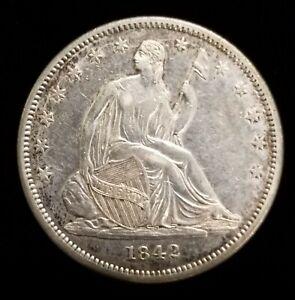 1842 Seated Liberty Half Dollar 50c in AU/BU Condition High End