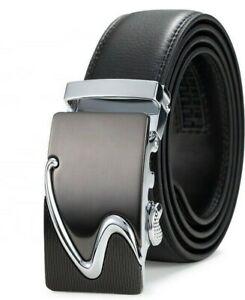 Herren Gürtel Automatik Jeans Automatikschließe Leder Massive Schnalle NEU