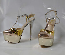 "Athena ""Barbie"" hi-heel strappy sandal in multiple color metallic - Size 11"