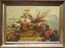 BELLE enorme francese 19th secolo FIORI NATURA MORTA MAESTRO ANTICO DIPINTO AD OLIO
