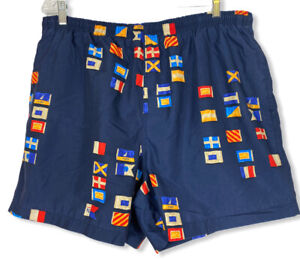 Men's Nautica Swim Trunks Beach Shorts Sailing Flags- Size XL- Color Multicolor