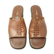 Vintage Connie Womens 8 Lynn Slip On Leather Sandals Browns Brazil