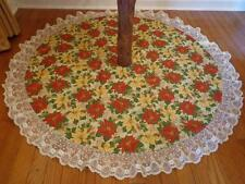 "Christmas Poinsettia Pinecones Reversible Tree Skirt Lace Trim 48.5"" Custom Made"