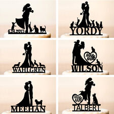 Wedding Gold Silver Cake Topper Cats Dogs Personalised Cakes Party Decorations