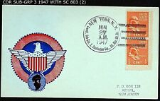COMMANDER SUB-GRP 3 RESV. BR. NY NY TIED TO PAIR 1938 SC 803 ½¢ STAMPS CNX 1947