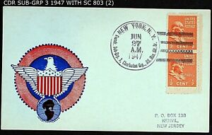 COMMANDER SUB-GRP 3 RESV. BR. NY TIED TO PAIR 1938 SC 803 ½¢ STAMPS CNX 1947