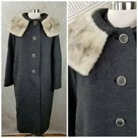 Vintage 60s Wool Mink Fur Collar Womens size Large XL Long Coat winter evening