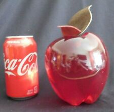 Mid Century Modern Red Lucite Apple Fruit Sculpture Leather Leaves LARGE eames