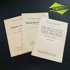 "LOT X3 1950'S VINTAGE ""THE THEATRE LOVERS CLUB"" PLAY PROGRAMMES MELBOURNE"