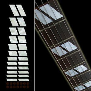 Double-Parallelogram 175 Block White Silver Fret board Markers Inlay stickers