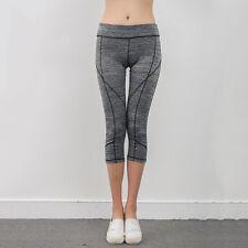 Womens Capri Leggings Running Yoga Sports Fitness Gym 3/4Pants Exercise Trousers