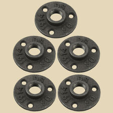 5Pcs -1/2 INCH BLACK MALLEABLE IRON PIPE FLOOR FLANGE FITTINGS PLUMBING USA
