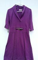CALVIN KLEIN Sweater Dress Purple Size Large Short Sleeve Black Belt-Perfect Con